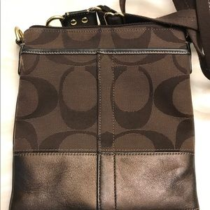 Coach signature brown cross bossy bag
